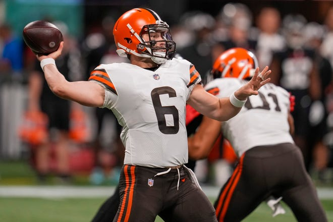 Browns quarterback Baker Mayfield (6) was impressive in limited playing time during Sunday night's preseason game against the Atlanta Falcons. [Dale Zanine/USA TODAY Sports]