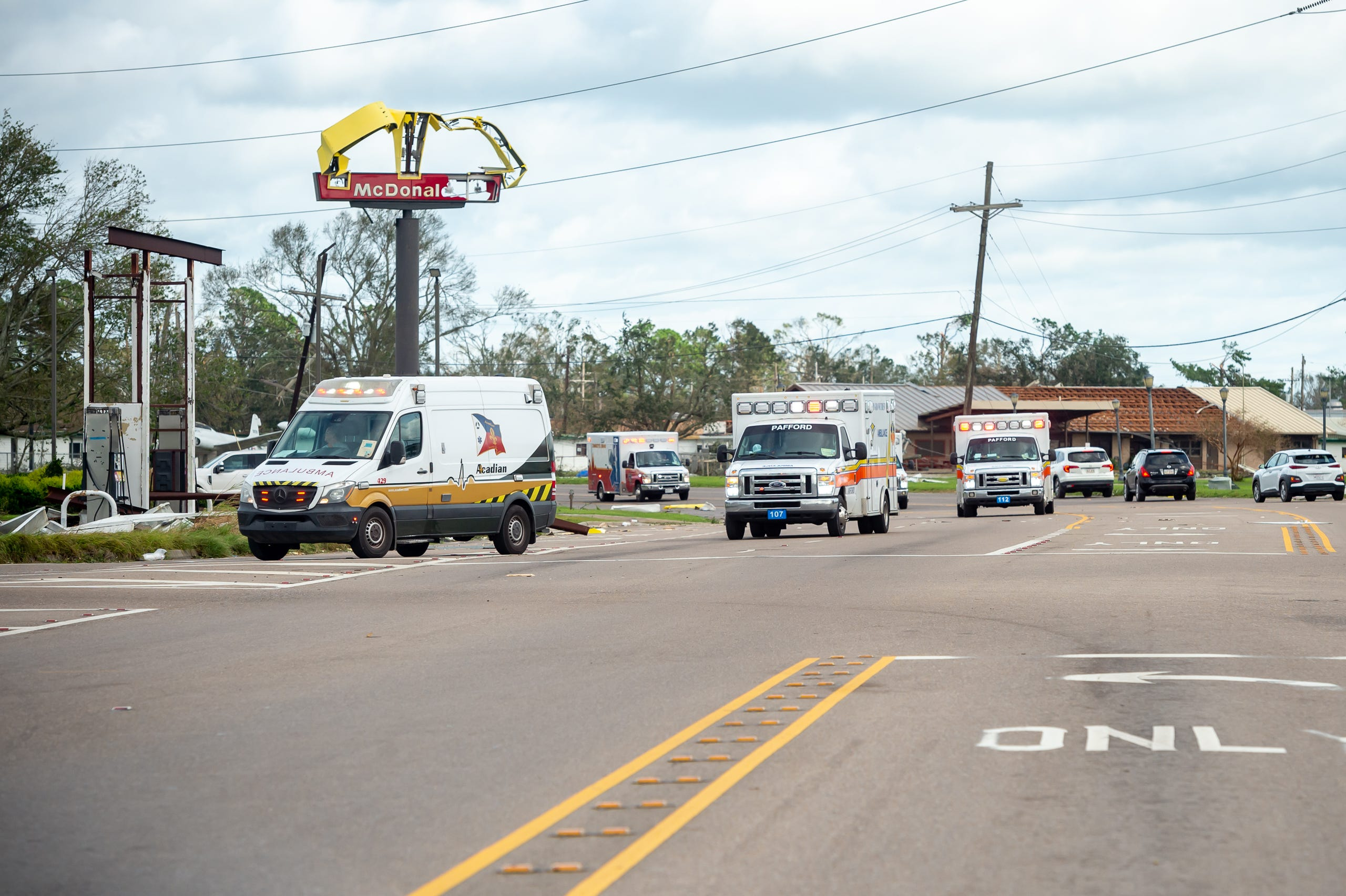 More than two dozen ambulances arrive at Chabert Medical Center to evacuate patients after Hurricane Ida in Houma, LA. Monday, Aug. 30, 2021.