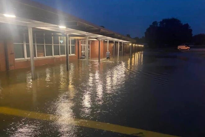 Santa Fe Unit School in Santa Fe, Tenn., experienced flooding during an evening of heavy rainfall that caused devastating floods in Humphreys and Hickman Counties on Saturday, Aug. 21, 2021. The school staff rallied to cleanup and classes resumed on Monday.