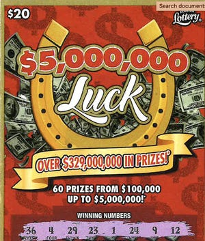 This is Michael Turner's winning $5,000,000 Luck scratch-off ticket he purchased at Fast Marketat 850850 U.S. 17 in Yulee.
