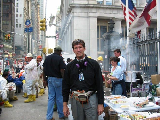 In 2001, Lyndon Harris, shown here at BBQ on Broadway, was serving as priest in charge of St. Paul's Chapel, an Episcopal chapel directly across the street from the World Trade Center in New York City. For the next eight months, he served first responders and emergency personnel by setting up a relief mission, providing a safe haven from the devastation at Ground Zero.
