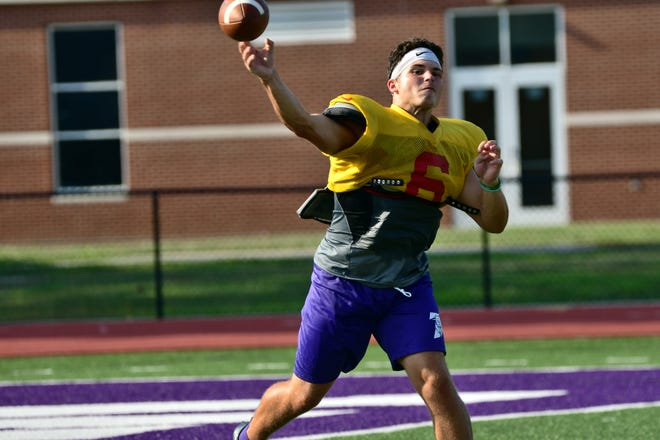 Truman State quarterback Nolan Hair throws during an offensive drill during practice at Stokes Stadium on Aug. 27.