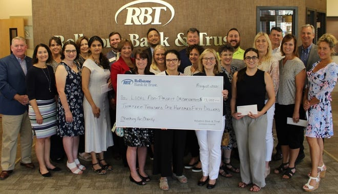 Pictured are, front row, Elizabeth Ainsley Campbell, Nashua River Watershed Association; Beth Barto, LUK (holding check); Susan Chalifoux Zephir, Ginny's Helping Hand; and Linda Anderson, St. Bernard's Central Catholic High School; second row, Martin F. Connors Jr., president and CEO of Rollstone Bank & Trust; Carolyn Read, Habitat for Humanity; Mary Fran Mitrano, Indian Hill Music; Maddie Phadke, Virginia Thurston Healing Garden; Patricia Stern, Loaves & Fishes; Sydney Huckabee, LUK; Melissa Maranda, RBT Wealth Management and chairman of the board of Community Health Connections; Heidi Hagan, Montachusett Veterans Outreach Center; Lori Richardson, Aging Services of North Central Massachusetts; Vicki Briggs, Beacon of Hope; and Carla Zottoli, MWCC Foundation; and back row, Katy Whitaker, Monty Tech Foundation; Anne Marie Gaskins, RBT Deposit Operations Specialist and board member of Townsend Ecumenical Outreach; Justin Goettsch, Arc of Opportunity; Kory Eng, United Way of North Central Massachusetts; Chris Connors, RBT Relationship Banking Officer and board member of Harvard Lions Club; David Ginisi, Aging Services of North Central Massachusetts; Matt Smith, RBT Wealth Management and board member of Beacon of Hope; and Art Feehan, RBT Executive VP and COO and board member of MWCC Foundation and Nashua River Watershed Association.