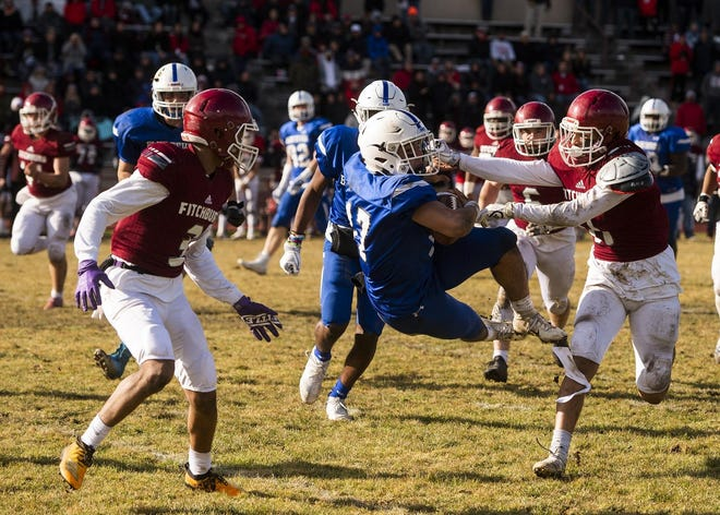 Leominster's Caeden Constant is taken down during the 2019 Thanksgiving Day game against Fitchburg.