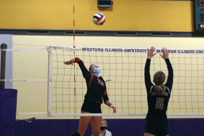 Kennedy Adair goes up for a kill.