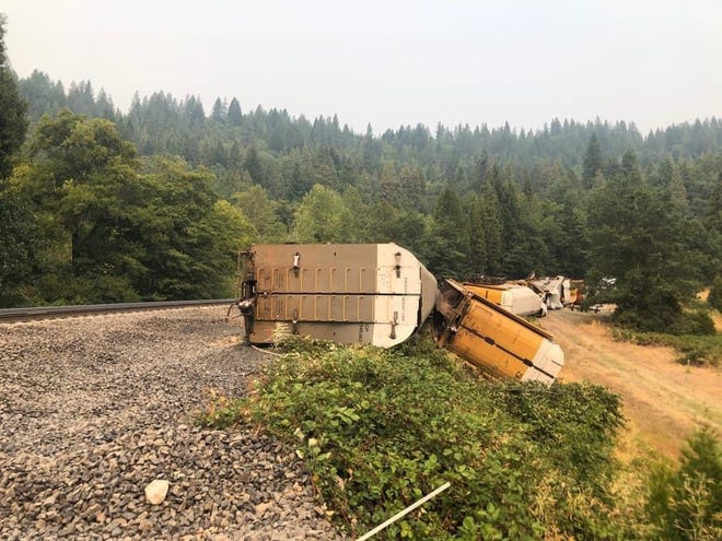 Eighteen Union Pacific Railroad cars went off the tracks in the Cantara Loop area near Dunsmuir on Friday, Aug. 27, 2021. This is near the site of the devastating and notorious Cantara Loop Spill of 1991.