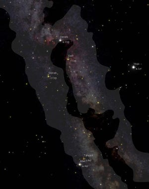 Detail star map with Milky Way produced with SkyGazer star mapping software.