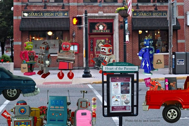 This photo illustration by photographer Jack Swersie titled 'Heart of the Poconos' features tin toys milling about Main Street in Stroudsburg.
