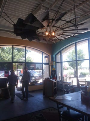A large windmill head on the ceiling is just one of the many interesting features to be seen at the Crazy Mule Restaurant, a popular eating place in Greensburg.