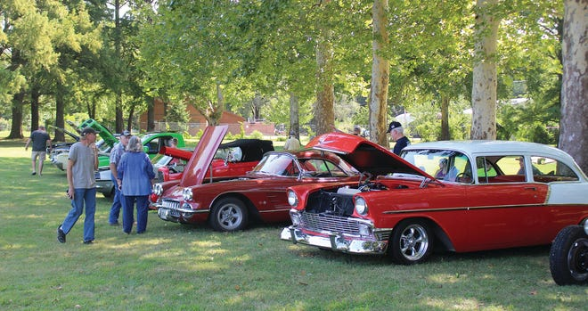 Classic cars lined up under the trees at Sixth Street Park in Pratt last Saturday made for a comfortable walk down memory lane for many car and truck enthusiasts.