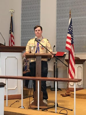 Luke Schmidt speaks at his Eagle Scout ceremony earlier in August in Pratt at the First United Methodist Church.