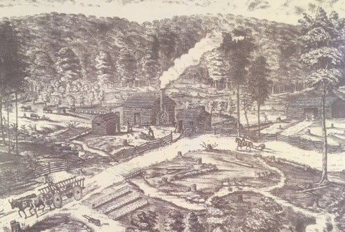 Depiction of an early pioneer homestead in the Ohio wilderness. Aurora's first homestead was on East Pioneer Trail near the Mantua border now known as the Spring Hill Park owned by the City of Aurora.