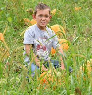 Owen Reinsel, 8, grows his own crops, including corn, peppers, flowers, herbs and pumpkins in the yard of his Washington Township home. Monday, August 30, 2021.