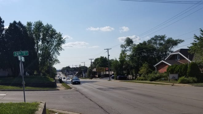 Neighbors have started a petition demanding additional traffic control measures including stoplights in the area of Broadway and 24th Street in Rockford, seen Monday, Aug. 30, 2021, after East High School's Mason Crowe Hada, 16, was killed in a traffic crash while driving home from football practice.