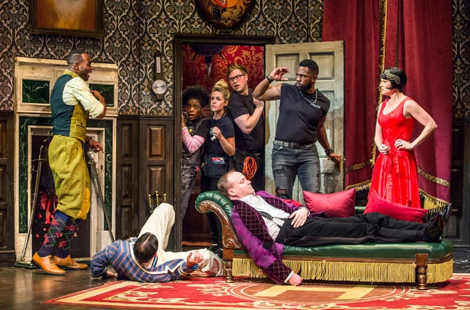 """A scene from the original Broadway production of """"The Play That Goes Wrong."""" Florida Studio Theatre will produce its own version during the 2021-22 season."""