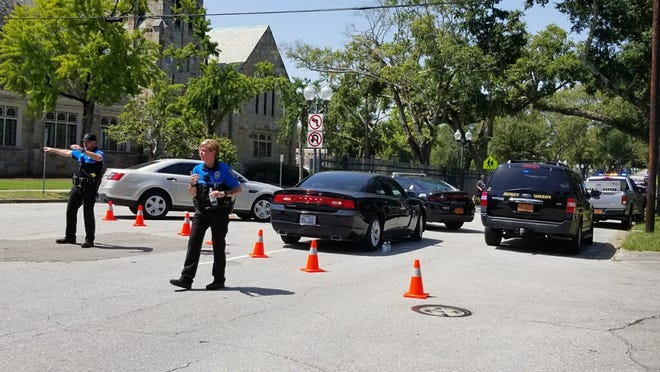 Law enforcement at the scene of a shooting at New Hanover High School on Monday, Aug. 30.
