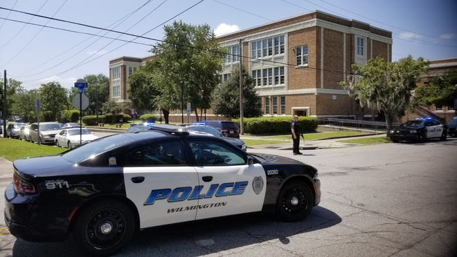 Wilmington police on the scene of a shooting at New Hanover High School on Monday, Aug. 30.
