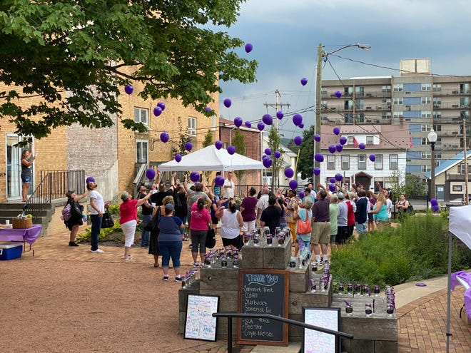 A balloon release from the overdose awareness event held in Somerset on Saturday.