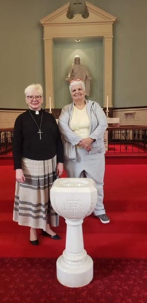 New Pastor Ruth Jensen is on the left, Deb Stewart, church council president on the right.