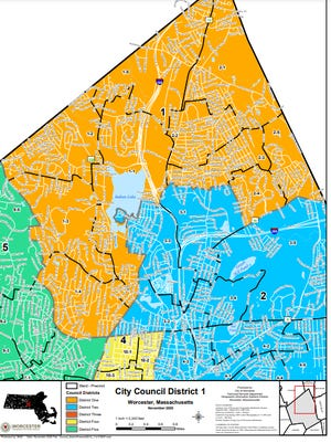 District map, city of Worcester