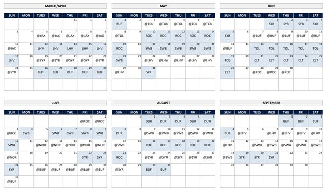 2022 Worcester Red Sox schedule