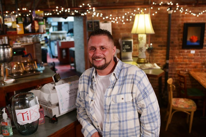 Chef Mike Devish at his home base,  Lucky's Café in Worcester. His Ziggy Bombs specialty steak and cheese sandwiches have become a pop-up hit.