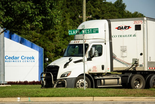 A tractor-trailer turns into the entrance to Cedar Creek Industrial Park on Monday, Aug. 30, 2021. SkyREM has recently closed on the purchase of Cumberland County's Cedar Creek Industrial Park.