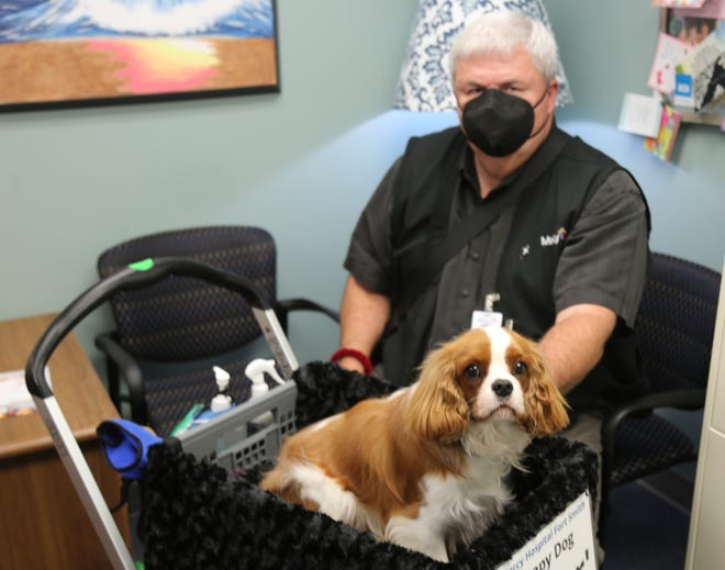 Baxter the therapy dog visits Mercy Hospital Fort Smith each Wednesday with handler Robert Mercer.