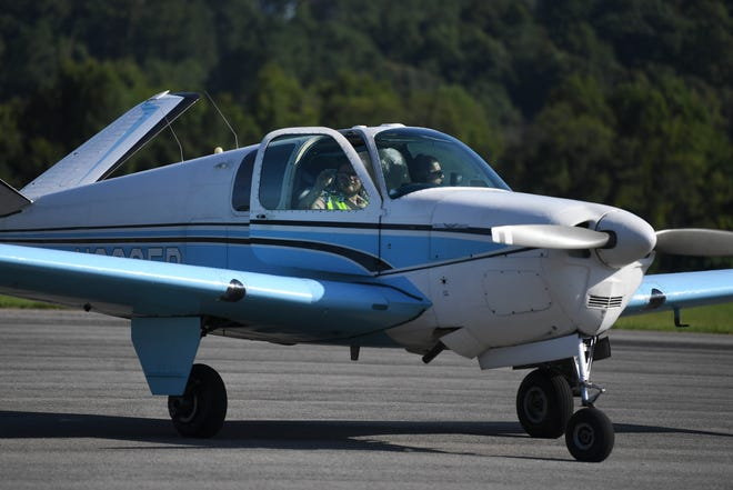 """A flight arrives back at the Tuskegee NEXT """"Young Eagles"""" rally at Downtown Island Airport, Saturday, Aug. 28, 2021. Tuskegee NEXT is a nonprofit founded by a Knoxville native and introduces disadvantaged youth to aviation careers."""