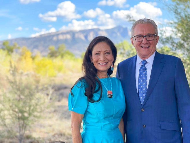 This photo provided by the U.S. Department of the Interior shows Interior Secretary Deb Haaland and her now husband, Skip Sayre, on their wedding day on Saturday, Aug. 28, 2021 in New Mexico. According to an Interior Department spokeswoman, guests had to be vaccinated to attend and wore masks per CDC and New Mexico guidelines.