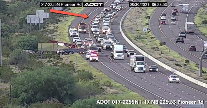 One person died in a crash on Aug. 30, 2021, on northbound Interstate 17 in the area of Daisy Mountain Drive and Pioneer Road.