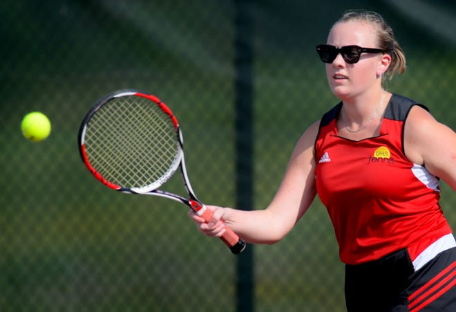 Dover's Claire Matz returns against Red Lion's Sophie Lanius in the second-seed match at Dover Monday, Aug. 30, 2021. Bill Kalina photo