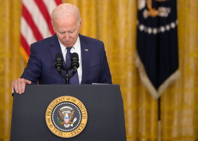 President Joe Biden speaks about the situation in Kabul, Afghanistan, from the East Room of the White House on Thursday, Aug. 26, 2021, in Washington, D.C. (Drew Angerer/Getty Images/TNS)