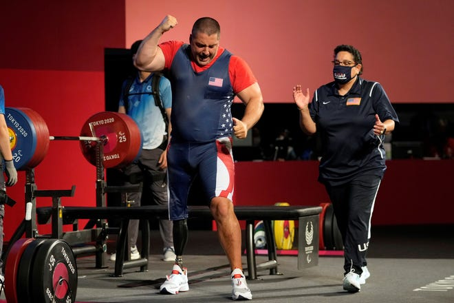 United State's Jacob Schrom reacts after a lift during men's -107kg powerlifting final at the Tokyo 2020 Paralympic Games, Monday, Aug. 30, 2021, in Tokyo, Japan. (AP Photo/Kiichiro Sato)