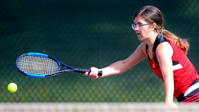Dover's Emily Moyer is seen here in girls' tennis action from earlier this season. The Eagles are at Central York on Tuesday. That's just part of a monster day of York-Adams prep action.