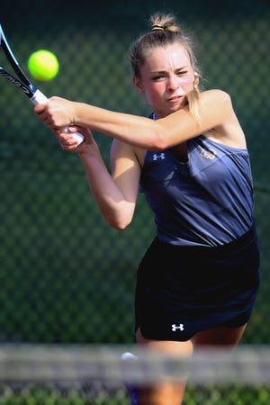 Red Lion's Lexi Lakatosh returns against Dover's Emily Moyer in the top-seeded match at Dover Monday, Aug. 30, 2021. Bill Kalina photo