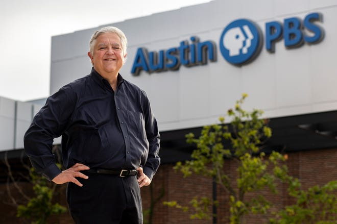Bill Stotesbery, CEO and general manager of Austin PBS, stands outside the new studio complex on the Austin Community College Highland campus. Stotesbery, who helped shepherd the plan for the station's new home, intends to retire at the end of September, with the studio expected to open in early 2022.
