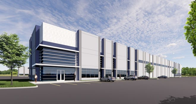 An artist's rendering shows a planned warehouse/distribution project in Georgetown that is expected to include 625,000 square feet of space in three buildings. Called Georgetown Logistics Park and developed by Stonelake Capital Partners, the project will be off Interstate 35 and Texas 130, near Georgetown Municipal Airport.