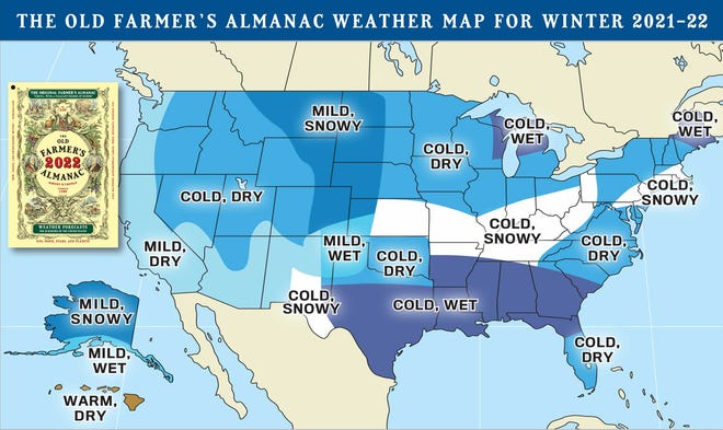 The Old Farmer's Almanac is predicting a cold, dry winter in northern Ohio, with more snow in the southern half of the state, as well as western Pennsylvania.