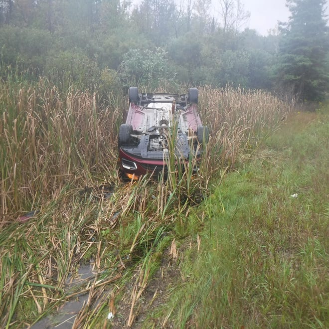 The driver of this Chevy Cruze sustained minor, non-life threatening injuries after he lost control of the vehicle in heavy rains, hydroplaning, and going into the median, where the vehicle overturned.