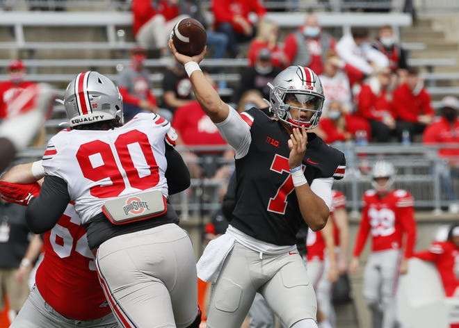 Team Brutus quarterback C.J. Stroud (7) throws a pass during the Ohio State Buckeyes football spring game at Ohio Stadium in Columbus on Saturday, April 17, 2021.