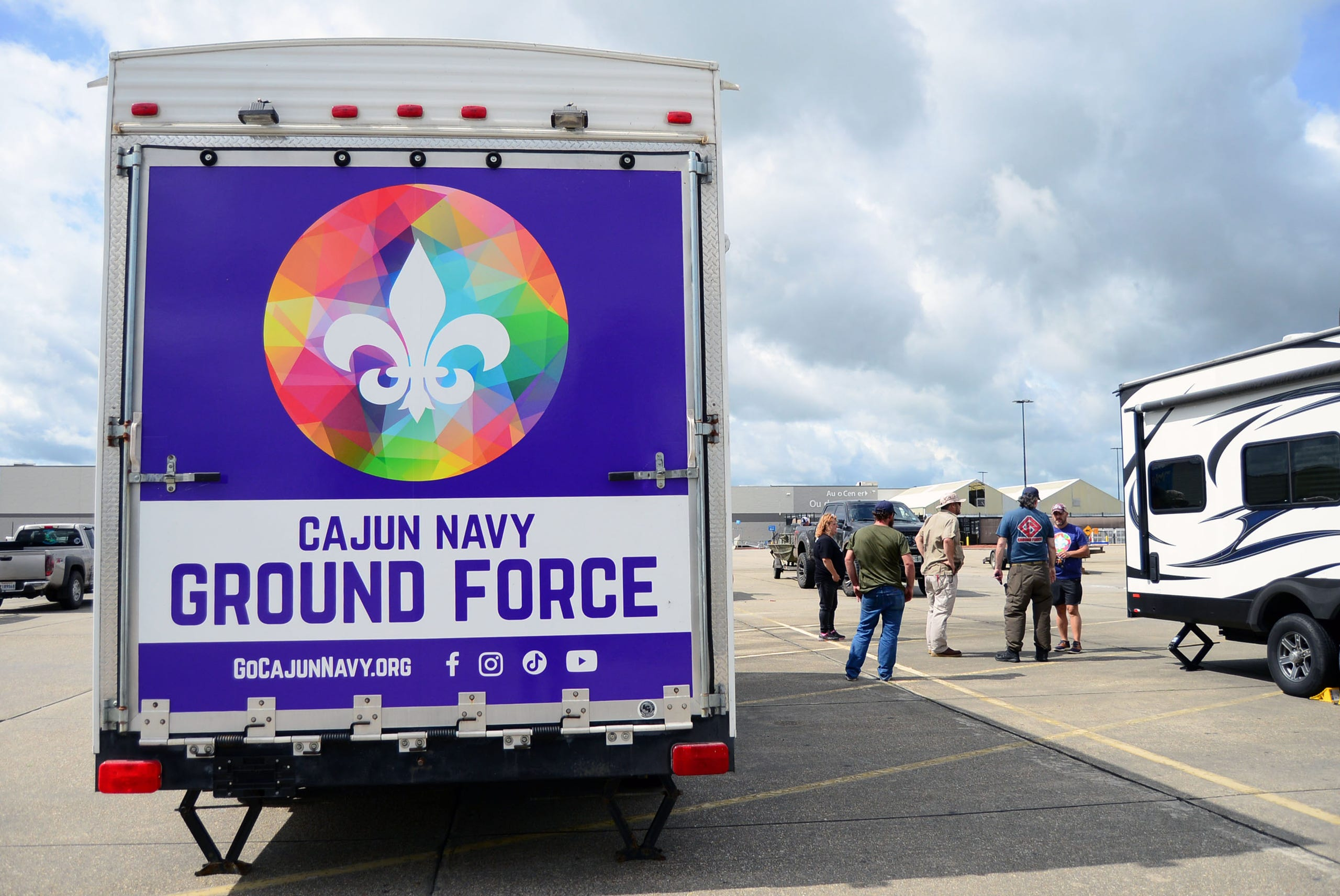 The Cajun Navy Ground Force set up its base of operations on Monday, Aug. 30, 2021, in the Walmart parking lot on Martin Luther King Jr., Blvd.