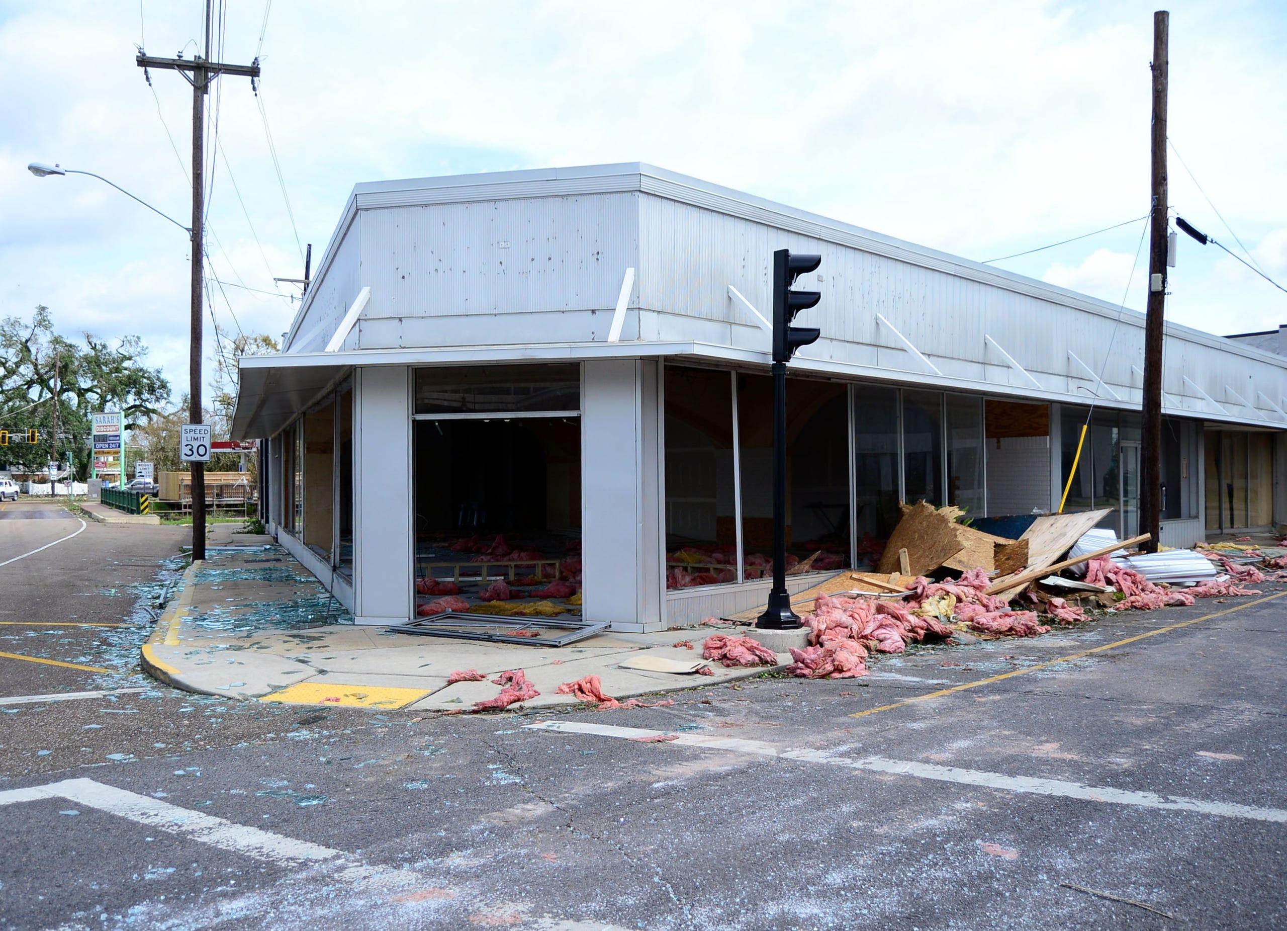 A building near the Houma downtown area was damaged during Hurricane Ida.