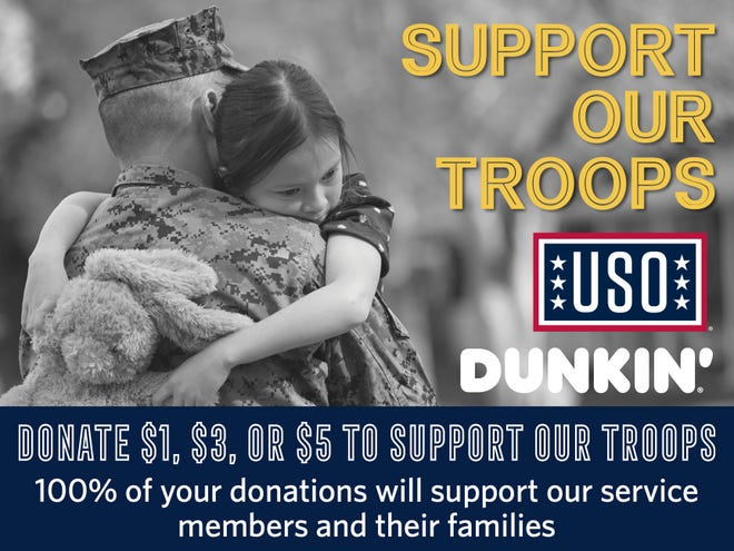 Guests at participating Dunkin' locations throughout Florida and Alabama can support the troops with donation program.