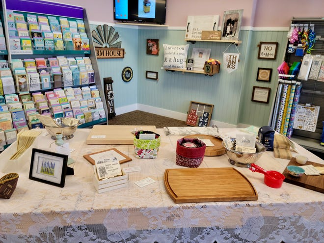 Holland Cutting Board Co. has partnered with Hallmark to provide cards and gift wrapping on-site.