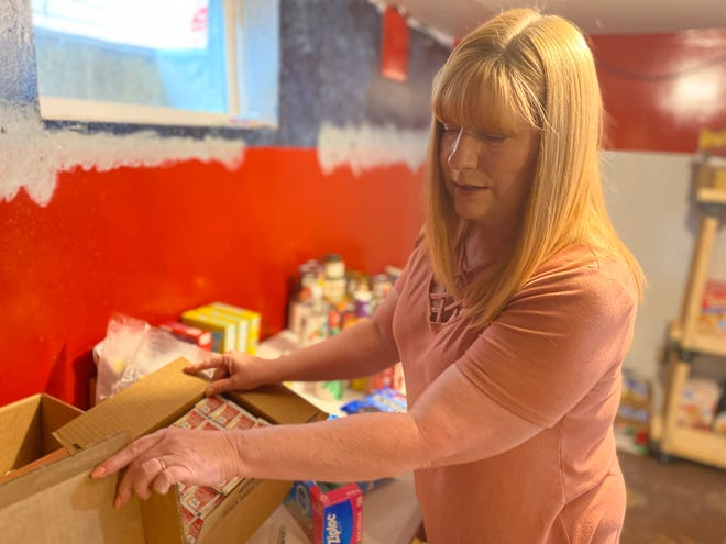 Rhonda's pantry has items from jelly packets to toothbrushes.