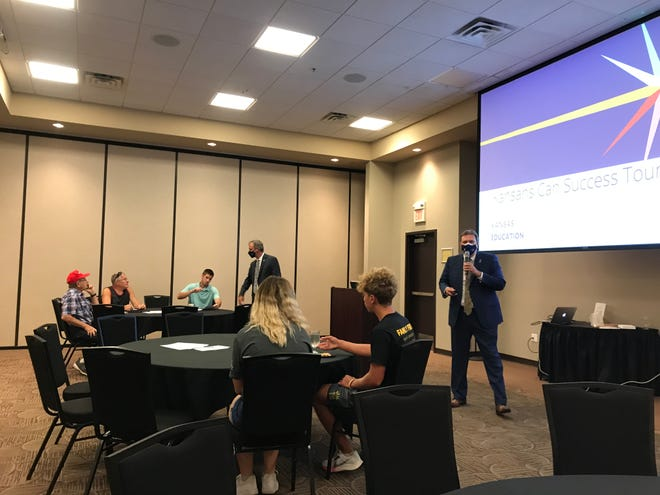 """Dr. Randy Watson, Kansas Commissioner of Education, made a stop on his """"Kansas Can Success Tour"""" at the Meridian Center in Newton on Aug. 31."""