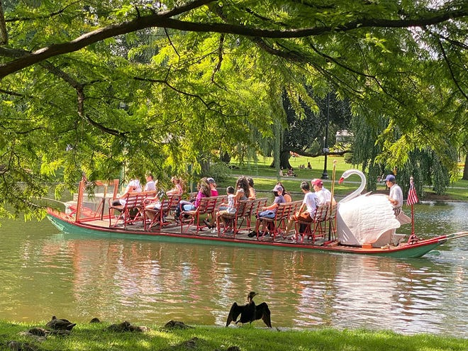 A bird is greeting people on a Swan Boat that is on its journey in the Public Garden.
