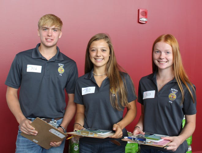 Nevada FFA members earned a silver award at state FFA livestock judging contest Aug. 29 Pictured are, left to right,Karter Beving, Keegan Mather, Kylie Taylor, and, not pictured, Kevin Cooper, Nevada FFA advisor.