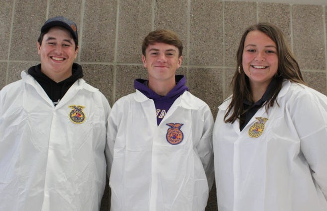 Nevada High School FFA meats evaluation team members are, left to right,Keegan Wegner, Rowan Steele, Josie Kelly, and, not pictured, Kevin Cooper, Nevada High School agriculture education instructor andFFA advisor.